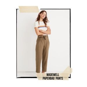 Madewell Paperbag Pants in Olive